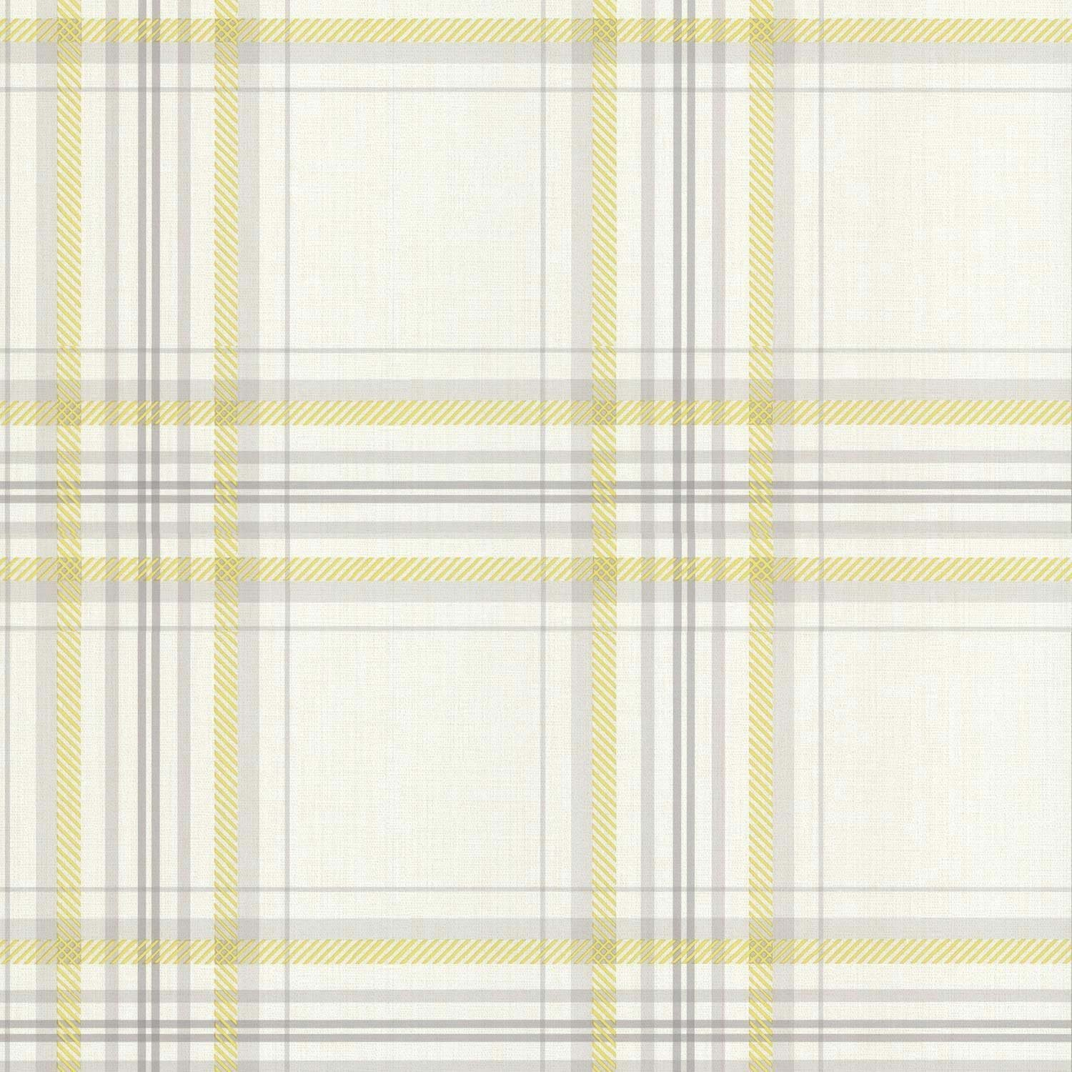Camomile Yellow Grey Beige Check Tartan K2
