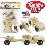 TimMee COMBAT PATROL Willys & Artillery - Tan 4pc Playset USA Made