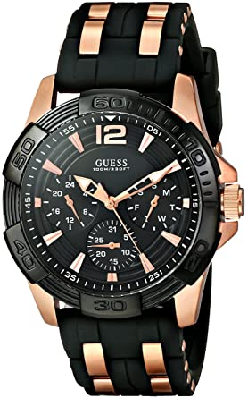 Guess Black Rose Gold Tone Stainless Steel Stain Resistant Silicone Watch With Day Date 24 Hour Military Int L Time Color Black Model