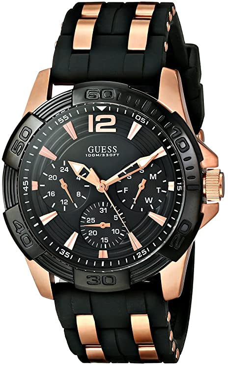 GUESS Analogue Black Dial Silicone Strap Time Functions Men's Watch Men at amazon
