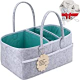 Baby Diaper Caddy Organizer - Shower Registry Gift Basket with Pacifier Clips, Bibs for Newborn - Caddy Nursery with…