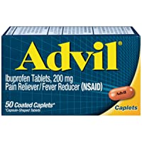 Advil Coated Caplets Pain Reliever and Fever Reducer, Ibuprofen 200mg, 50 Count, Fast-Acting Formula for Headache Relief, Toothache Pain Relief and Arthritis Pain Relief