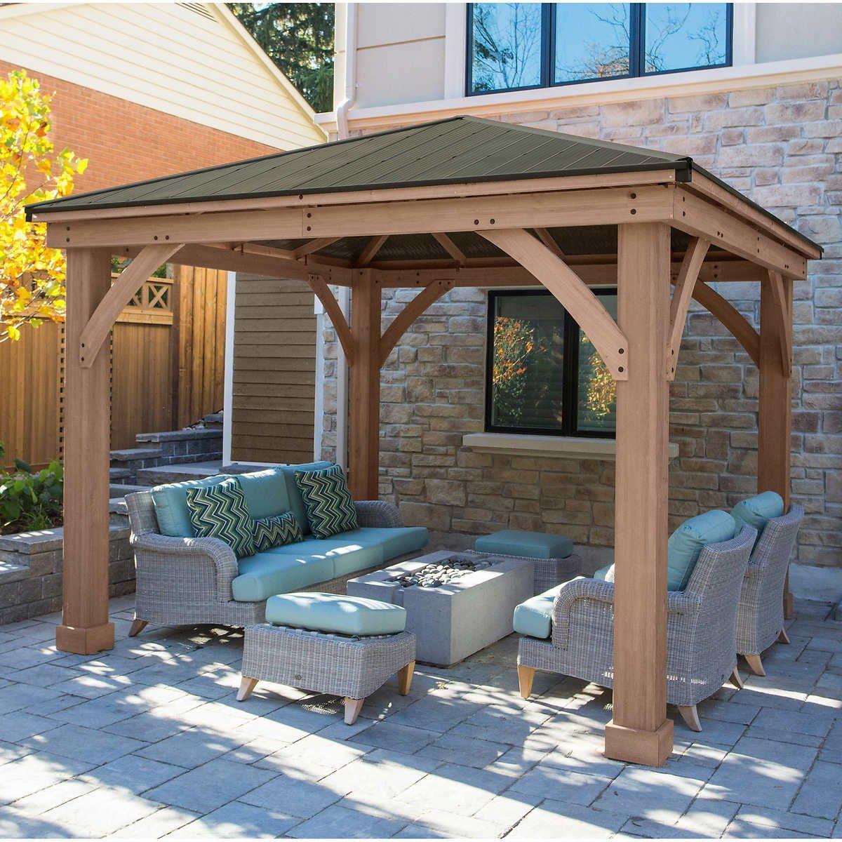 12 x 12 cedro carpa con techo de aluminio (requiere montaje ...