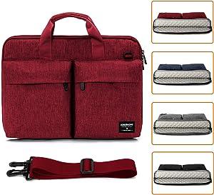 KINGSLONG 17.3 Inch Laptop Case for Men Women Briefcase Laptop Sleeve Messenger Bag Computer Bags with Shoulder Strap Handbag PC Bags Crossbody, Red