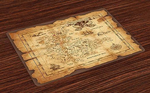 ABAKUHAUS Mapa de Isla Salvamantel Set de 4 Unidades, Mapa del ...
