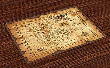 Carte Au Tresor Histoire.Abakuhaus Carte De L Ile Set De Table Carte Au Tresor