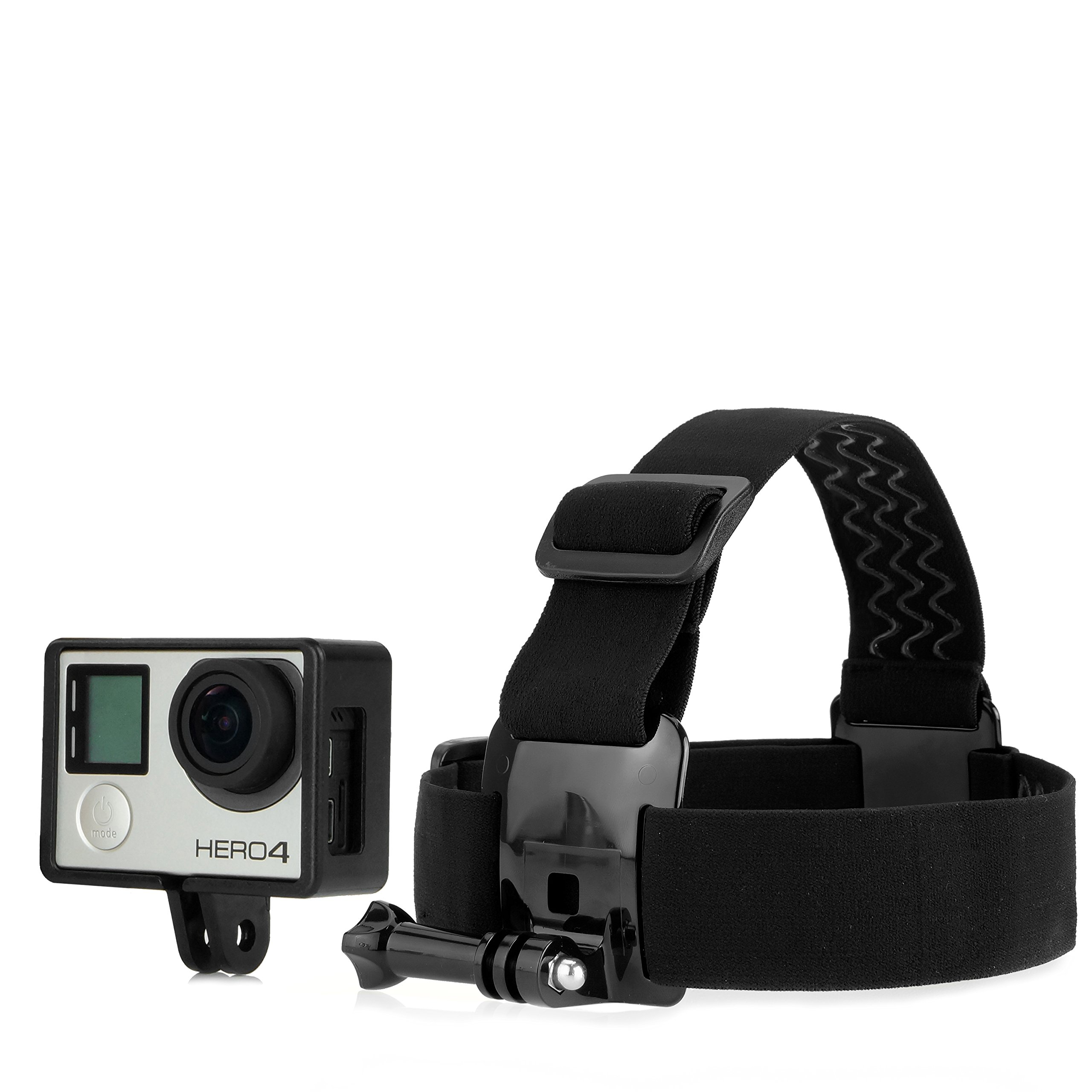 CamKix Head Strap Frame Mount Bundle for Gopro Hero 4, Black, Silver, 3+, 3 - Comfortable - Optimal Sound Capture - Includes also Large Thumbscrew / Lens Cap / UV Filter Lens by CamKix