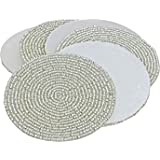 Prisha India Craft Set of 6 Handmade silver Beaded Tea Coasters - 4.2 Inches Placemats for Tea cups - Set of Drink Coaster absorbent - Christmas Gift with WOODEN KEYRING