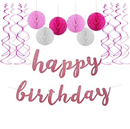 amazon com famoby glittery happy birthday banner with tissue paper