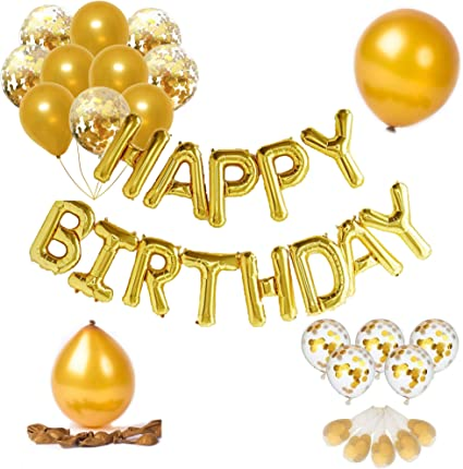 Gold Birthday Decorations Set with Happy Birthday Banner Foil Letter Balloons ZELAAR Happy Birthday Balloons Party Decorations Star Balloons Ribbon and Confetti Balloons for Kids and Adults