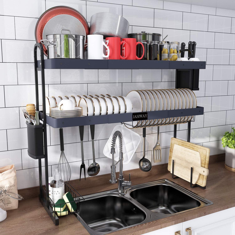 Kitchen Storage Organisation 2 Tier Dish Drying Storage Drain Rack Stainless Steel Kitchen Holder Over Sink Home Furniture Diy Zabbaan Com