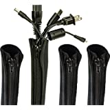 Cable Sleeve, Cable Cover, Wire and Cord Hider - Set of 4 - Computer, TV or Desk Management - Home & Office Organizer Conceal