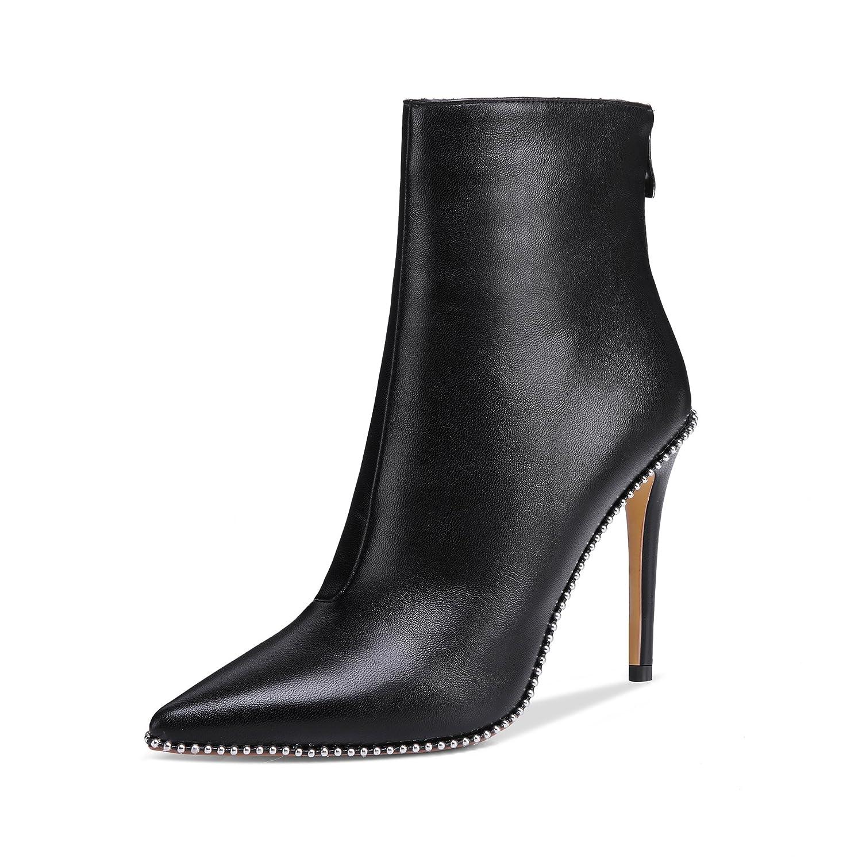 onlymaker Pointed Toe Studded Rivet Ankle Boots for Women Side Zipper Dress High Heels Booties Black B078YNTB5L 7 B(M) US|Black