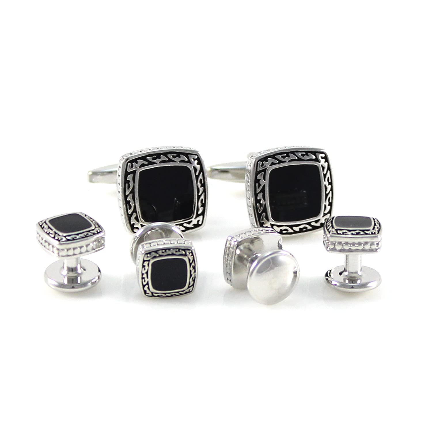 MENDEPOT Antique Silver Soft Square Cuff Link And Shirt Studs Formal Wear Set With Box MD0750