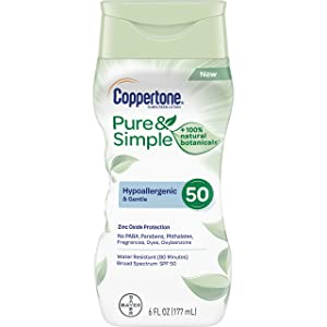 Coppertone Pure & Simple SPF 50 Sunscreen Lotion, Water Resistant, Hypoallergenic, Dermatologically Tested, Plus 100% Natural Botanicals,Broad Spectrum UVA/UVB Protection, 6 Fluid Ounce