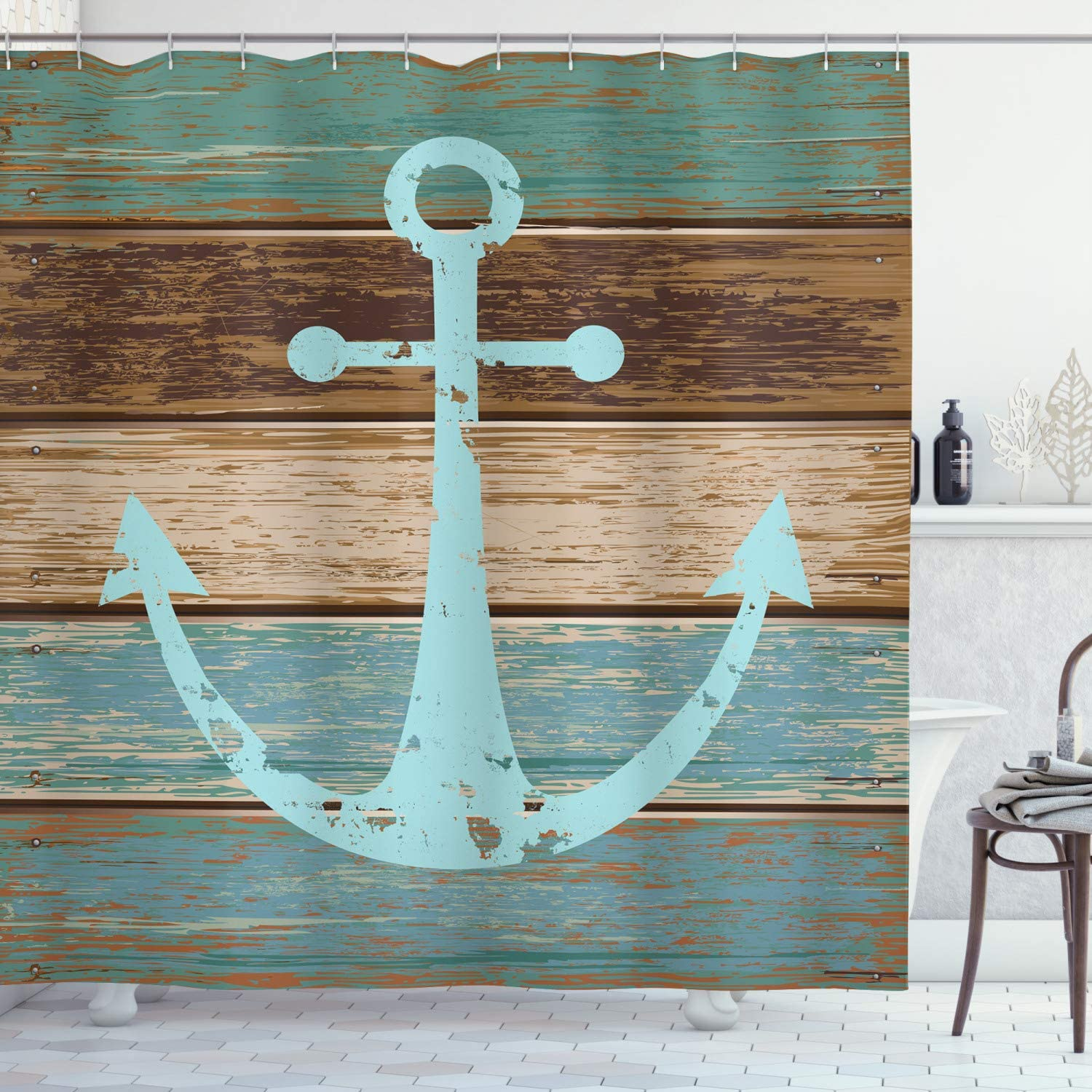 "Ambesonne Anchor Shower Curtain, Timeworn Marine on Weathered Wooden Planks Rustic Nautical Theme, Cloth Fabric Bathroom Decor Set with Hooks, 84"" Long Extra, Teal Brown"