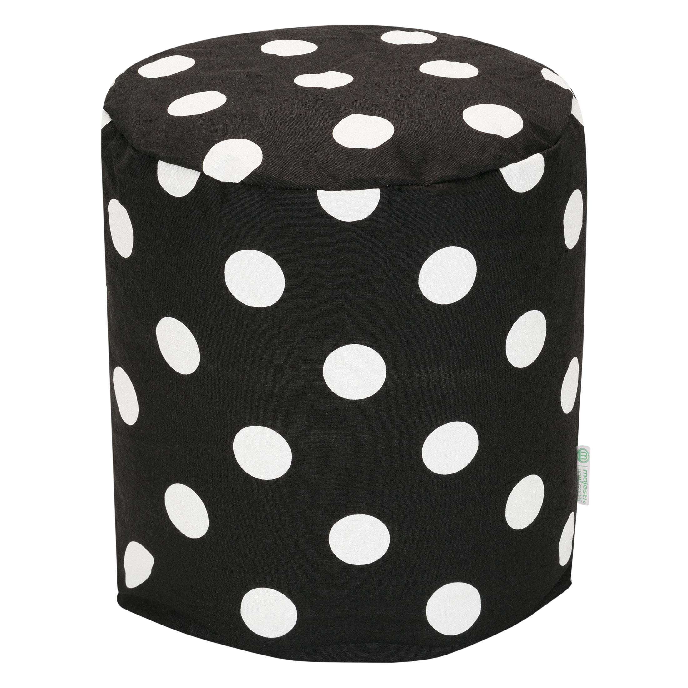 Majestic Home Goods Black Large Polka Dot Indoor Bean Bag Ottoman Pouf 16'' L x 16'' W x 17'' H