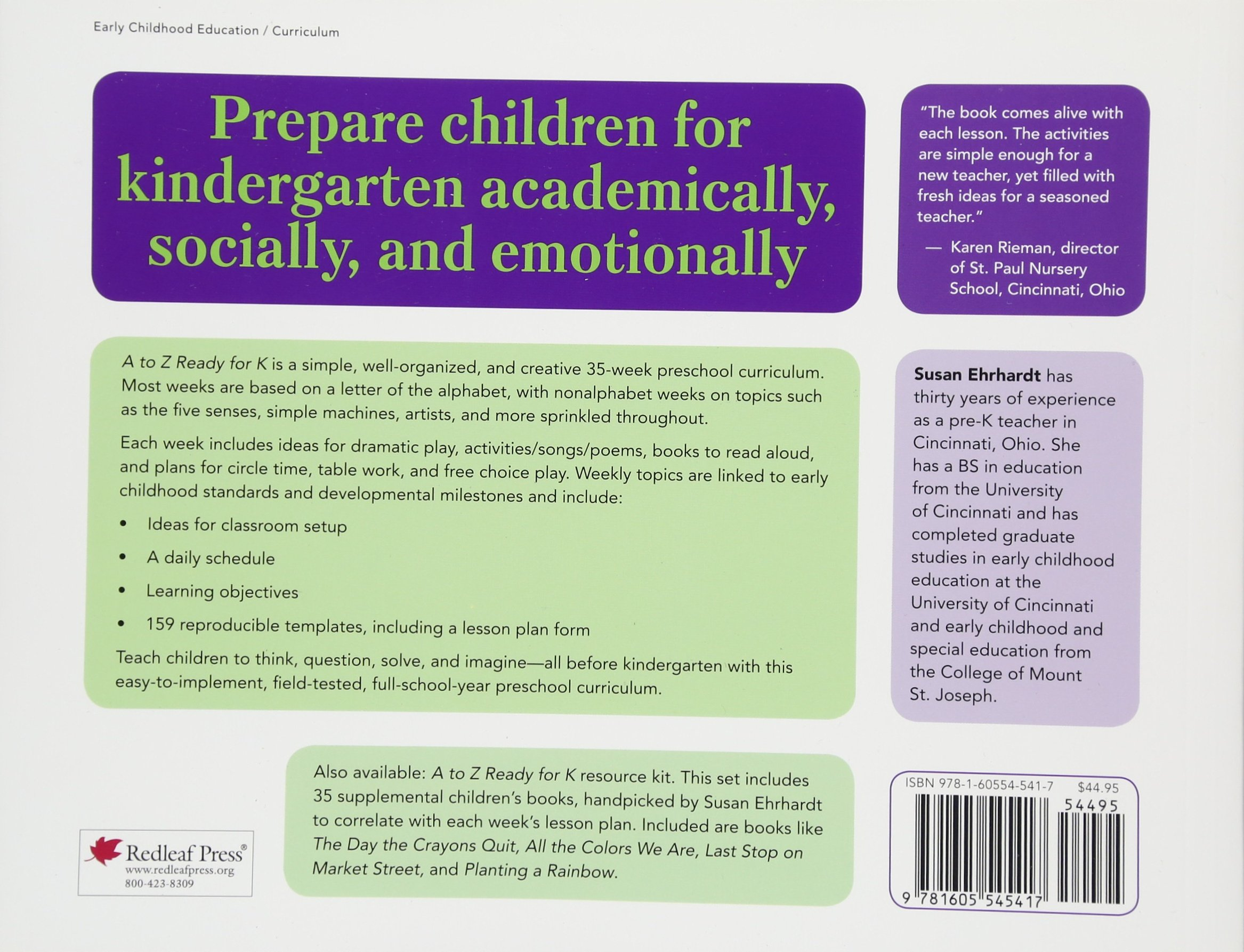 Amazon.com: A to Z Ready for K: A Complete 35-Week Curriculum ...