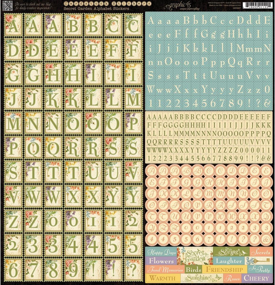 Graphic 45 Secret Garden Alphabet Stickers