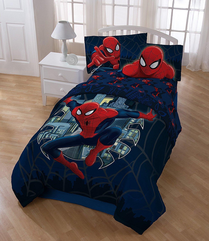 6pc Boys Spider Man Movie Themed Comforter Full Set, Navy Blue Red, Marvel Super Hero Spiderman Comic Costume Character Bedding, Geometric Superhero Characters Spiders Web Pattern