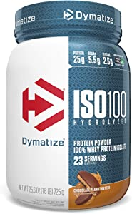 Dymatize ISO 100 Whey Protein Powder with 25g of Hydrolyzed 100% Whey Isolate, Gluten Free, Fast Digesting, Chocolate Peanut Butter, 1.6 Pound
