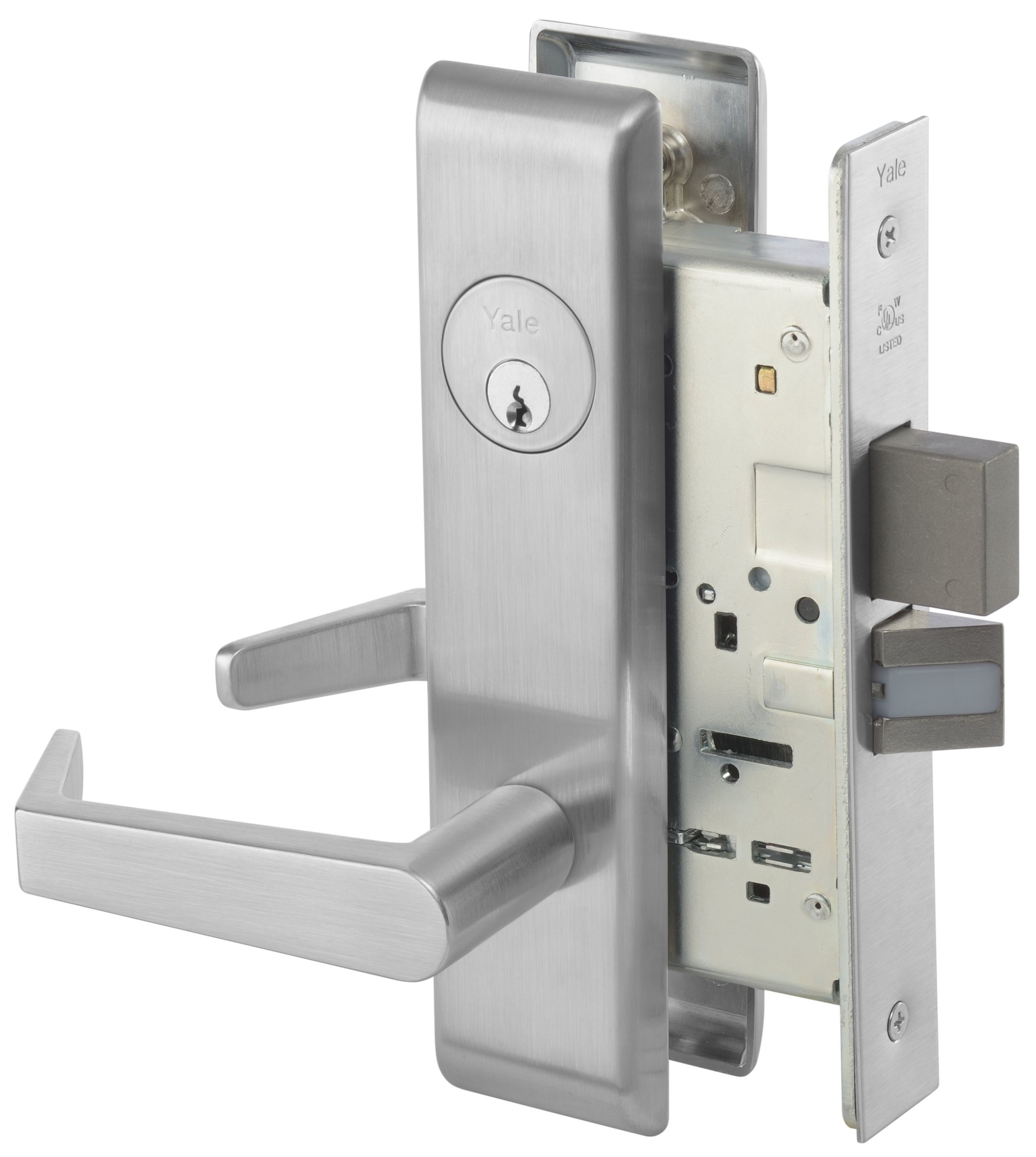 Yale 8822FL RH AUCN 626 LESS CY 8800 Mortise Lockset, Grade 1, Escutcheon Plate, Dormitory with Deadbolt, Cylinder Not Included, 626 Satin Chrome Finish