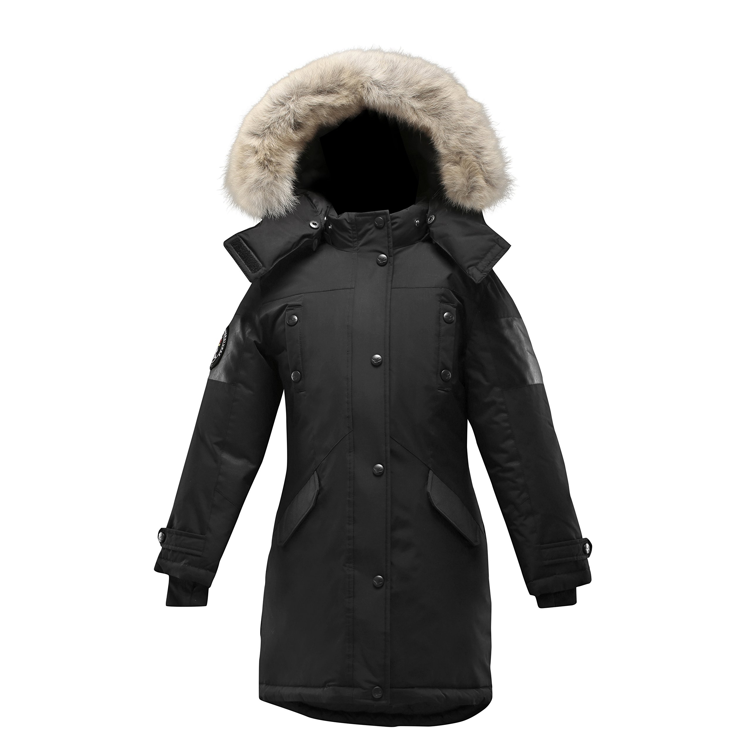 Triple F.A.T. Goose Embree Girls Down Jacket Parka with Real Coyote Fur (10, Black)