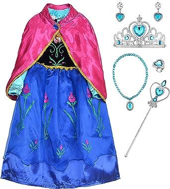 YOSICIL Disfraz de Princesa Anna Azul Niñas Vestido de Frozen con ...