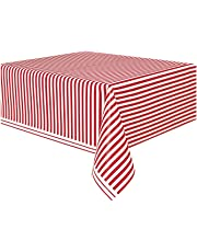 Unique Party 50300 - Plastic Red Striped Tablecloth, 9ft x 4.5ft