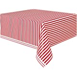 """Red Striped Plastic Tablecloth, 108"""" x 54"""""""