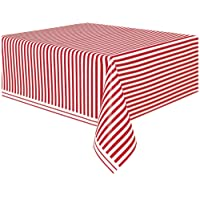 Plastic Red Striped Tablecloth, 9ft x 4.5ft
