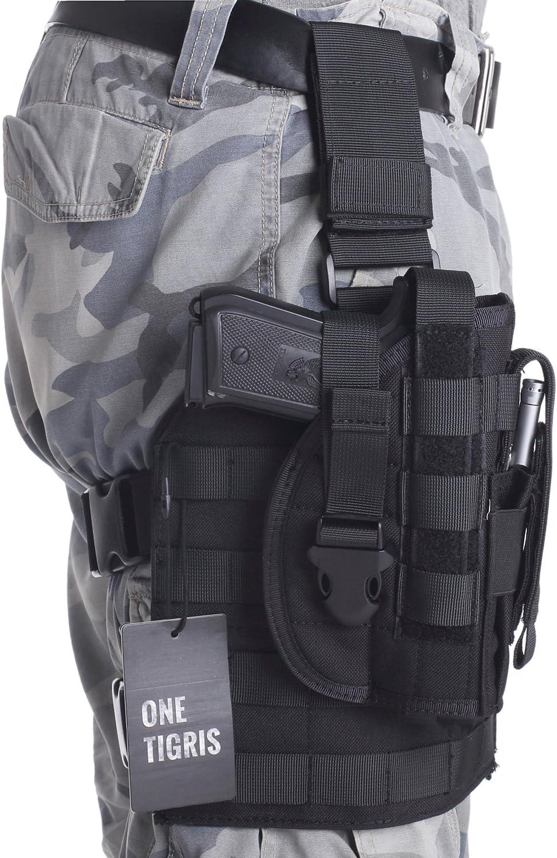 OneTigris 1000D - Soporte táctico Molle de pierna y funda para pistola con bolsillo para munición diseñada para tiradores diestros 1911 45 92 96 pistola Glock