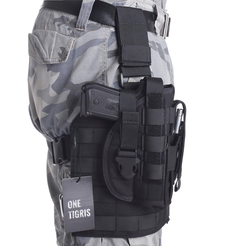 OneTigris 1000D - Soporte táctico Molle de pierna y funda para pistola con bolsillo para munición diseñada para tiradores diestros 1911 45 92 96 pistola Glock, Negro Negro