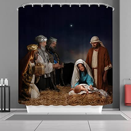 VANCAR Nativity Of Jesus Christmas Shower Curtain Cute Waterproof For Bathroom Decoration Home Decor