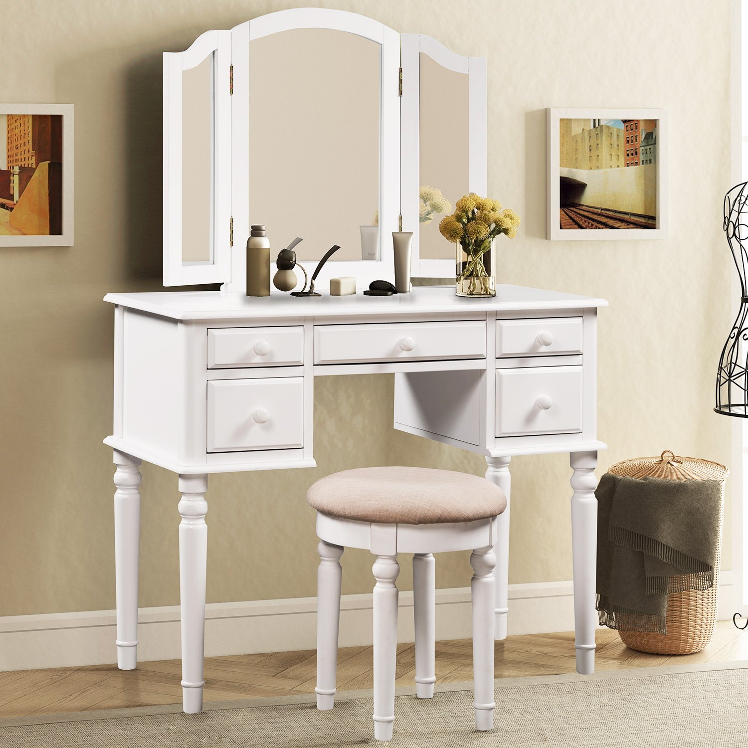 Merax Vanity Set w/ Stool Make-up Dressing Table Bedroom Dressing Table (White