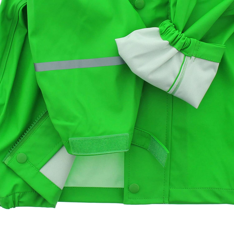 Kids Waterproof 2 Pcs Rain Wear 20 Colors Hooded Jacket /& Pants//or Dungarees 2T-10Y