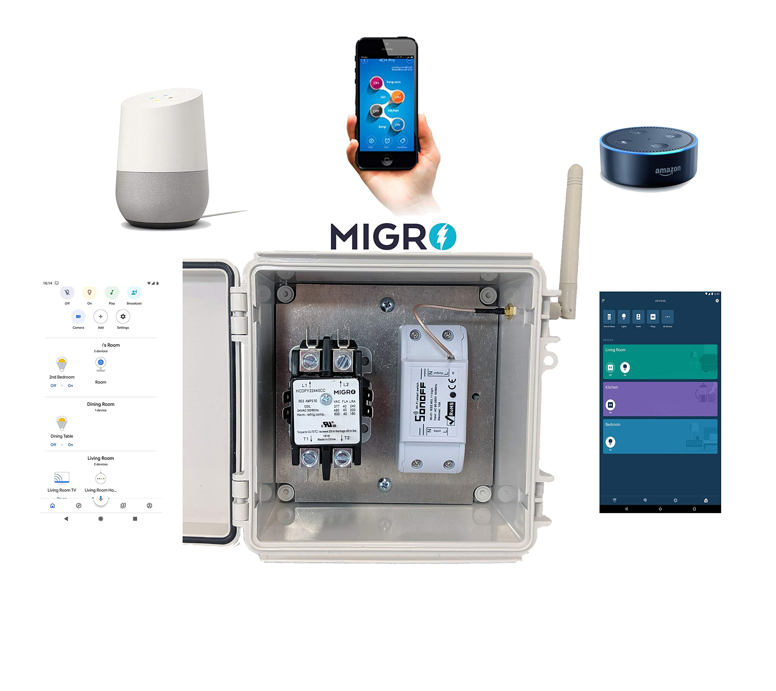Migro Outdoor Smart Wi-Fi Outlet Box, Heavy Duty 50A Resistive 120VAC 40A 5HP Wireless Pump Control Timer Switch, Compatible with Smart Phone, Alexa, Google Home, IFTTT UL Listed by Migro