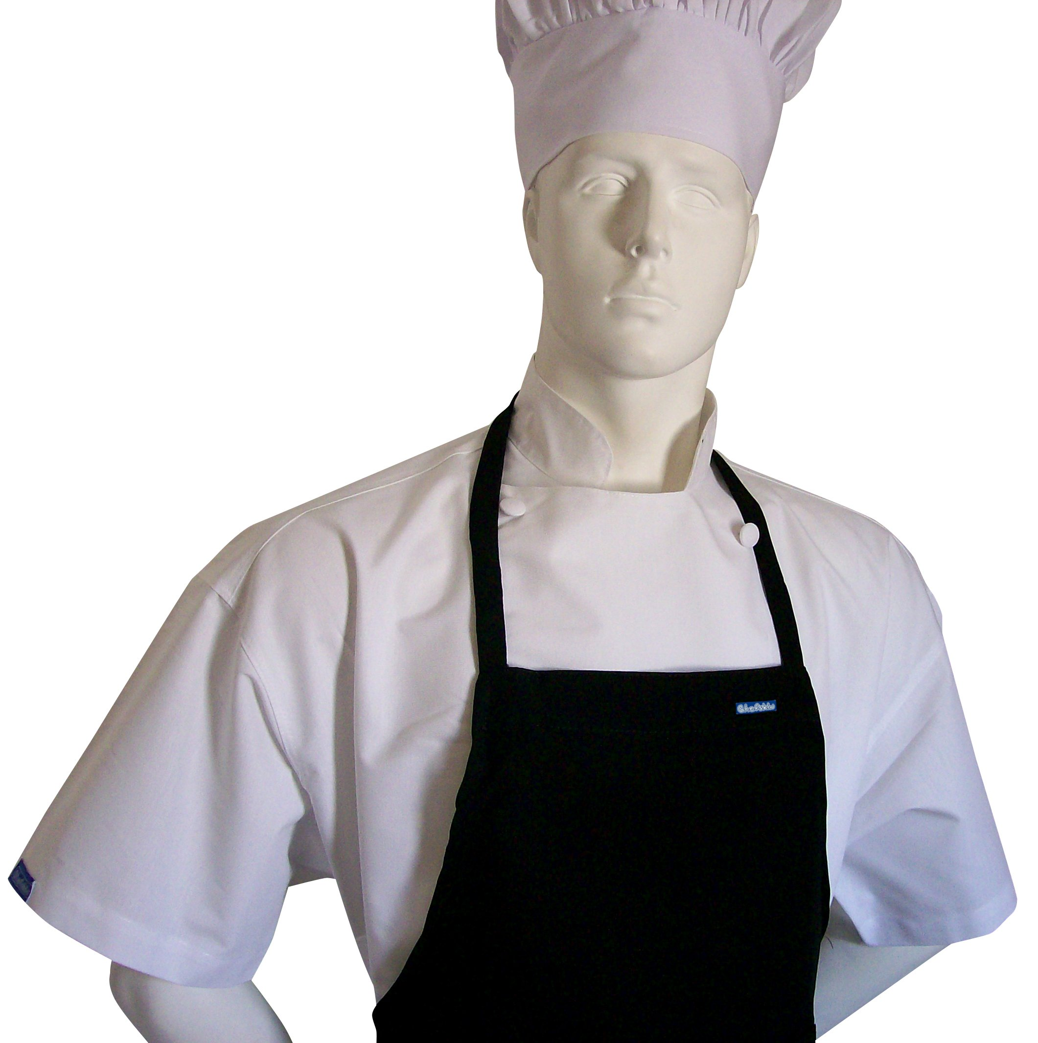 Chefskin 6X XXXXXXl Chef Set Jet Black Apron + hat, Ultra Lite Fabric