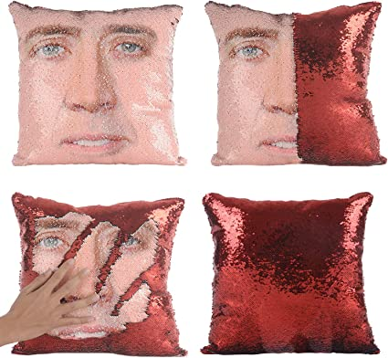 Amazon Com Merrycolor Nicolas Cage Mermaid Pillow Cover Sequin Pillow Case Funny Gag Gifts Reversible Sequin Pillow Cover Decorative Throw Cushion Case Red Home Kitchen