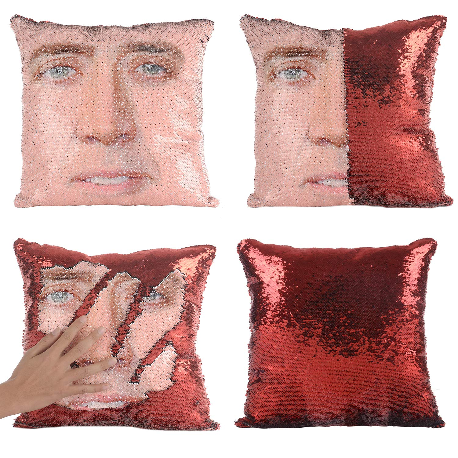 Merrycolor Mermaid Pillow Cover, Nicolas Cage Pillow Case Magic Reversible Sequin Pillow Cover Decorative Throw Cushion Case (Red)
