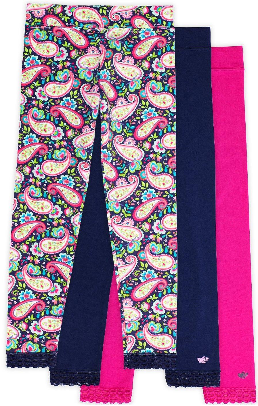 Jada Athletic Leggings for Girls, 3 Pack, Tagless, Lace Trim, Full Length, Pink/Navy/Paisley Print, 7/8