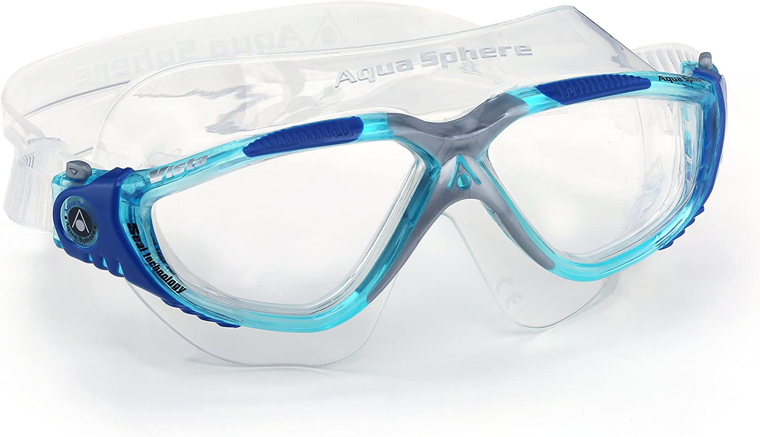 Amazon.com : Aqua Sphere Vista Swim Mask Goggles, Clear, Aqua/Blue/Grey : Swimming Goggles : Sports & Outdoors