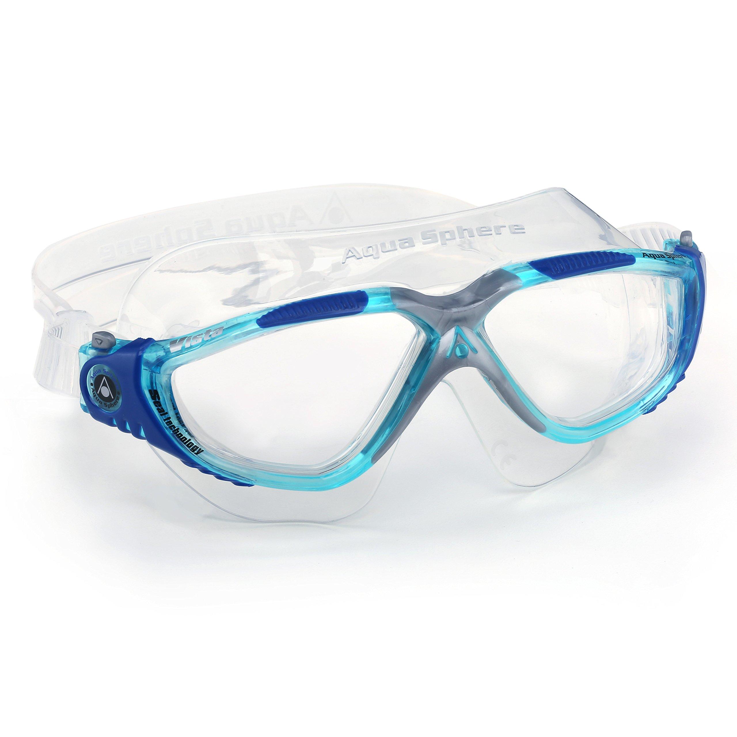 Aqua Sphere Vista Swim Mask Goggles, Clear, Aqua/Blue/Grey