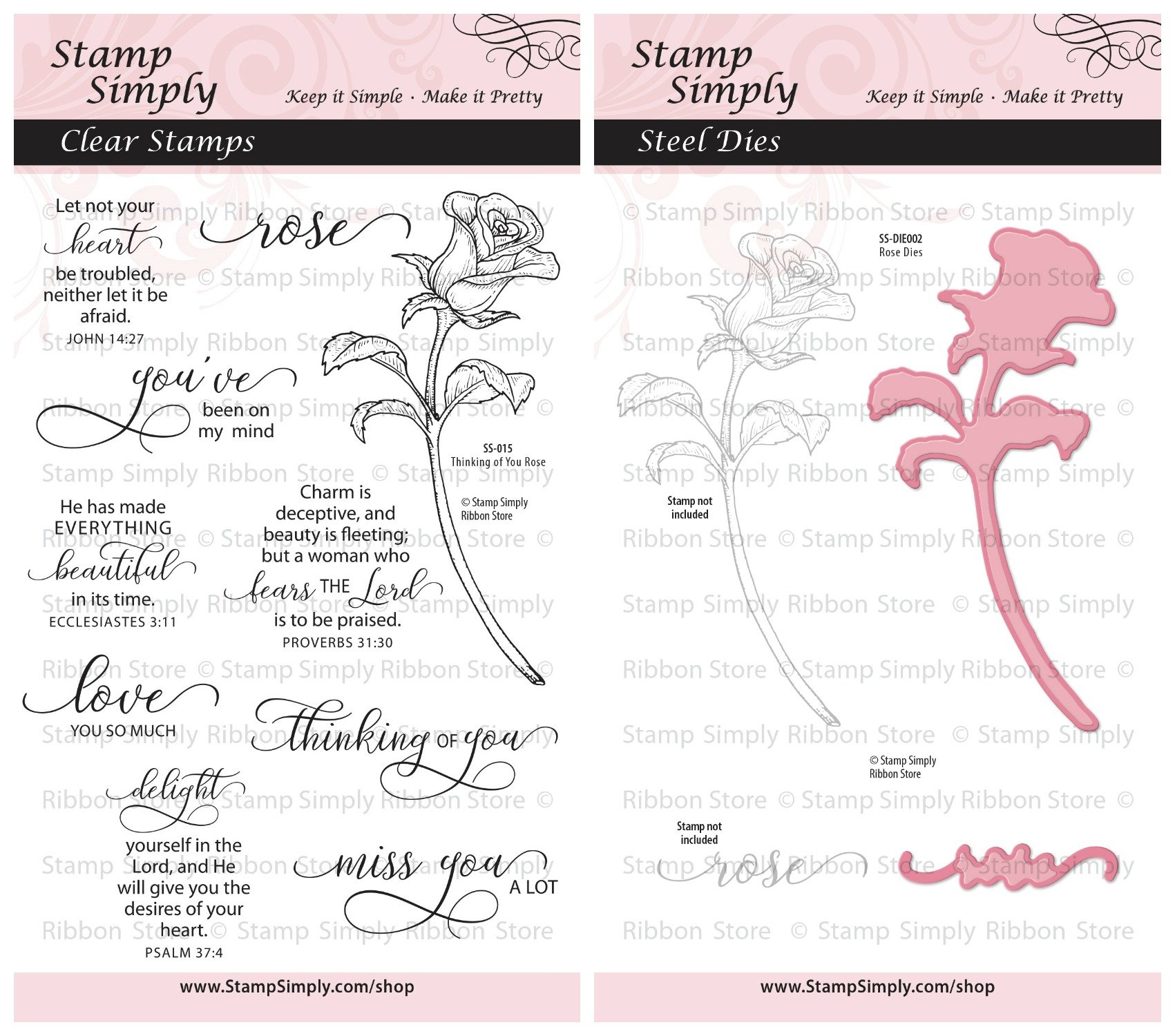 Stamp Simply Clear Stamps Thinking of You Mothers Day Special Occasion Rose Garden Flower and Die (2-Pack) 10 Pieces