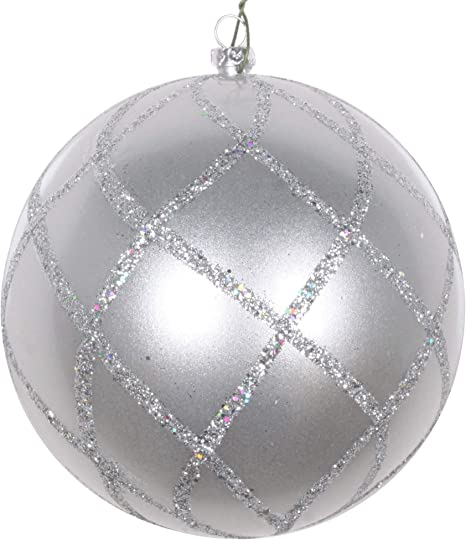 Vickerman Candy Glitter Net Decorative Hanging Ball Ornaments 4 75 Silver 3 Piece Home Kitchen