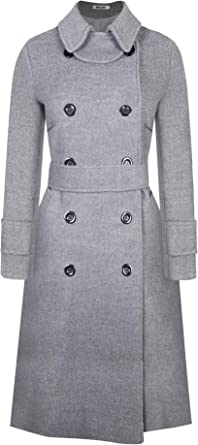 Amazon.com: BOJIN Women's Wool Coat Winter Classic Trench Wool Blend Top  Pea Coat Double Breasted Long Sleeve with Belt Doll Collar: Clothing