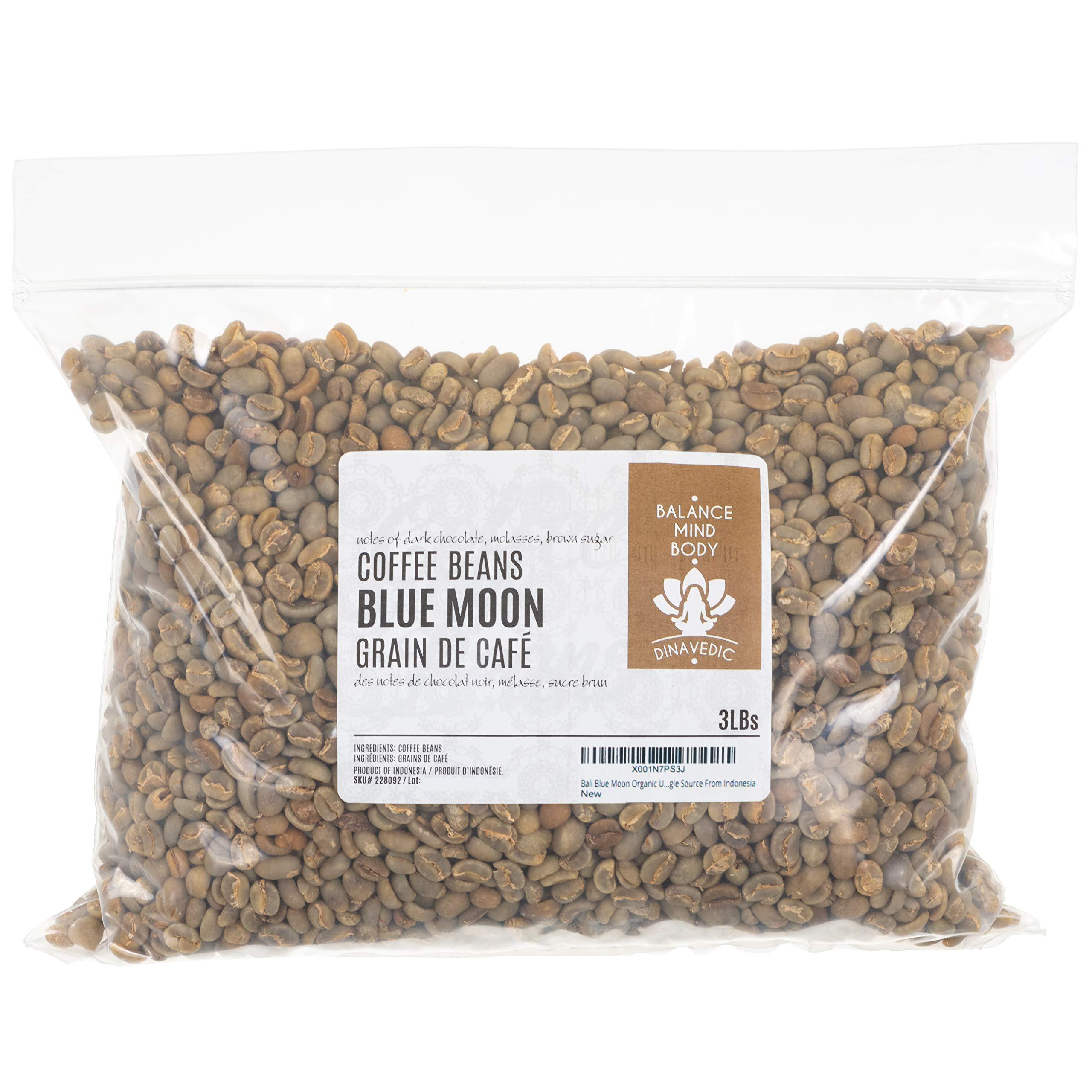 Bali Blue Moon Organic Unroasted Arabica Green Coffee Beans, 3Lbs Dinavedic | Premium Quality, Single Source From Indonesia
