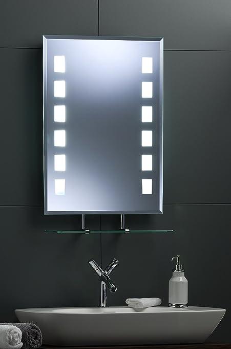 Neue design modern bathroom wall mirror led illuminated rect back neue design modern bathroom wall mirror led illuminated rect back lit mirror with shelf fully aloadofball Images