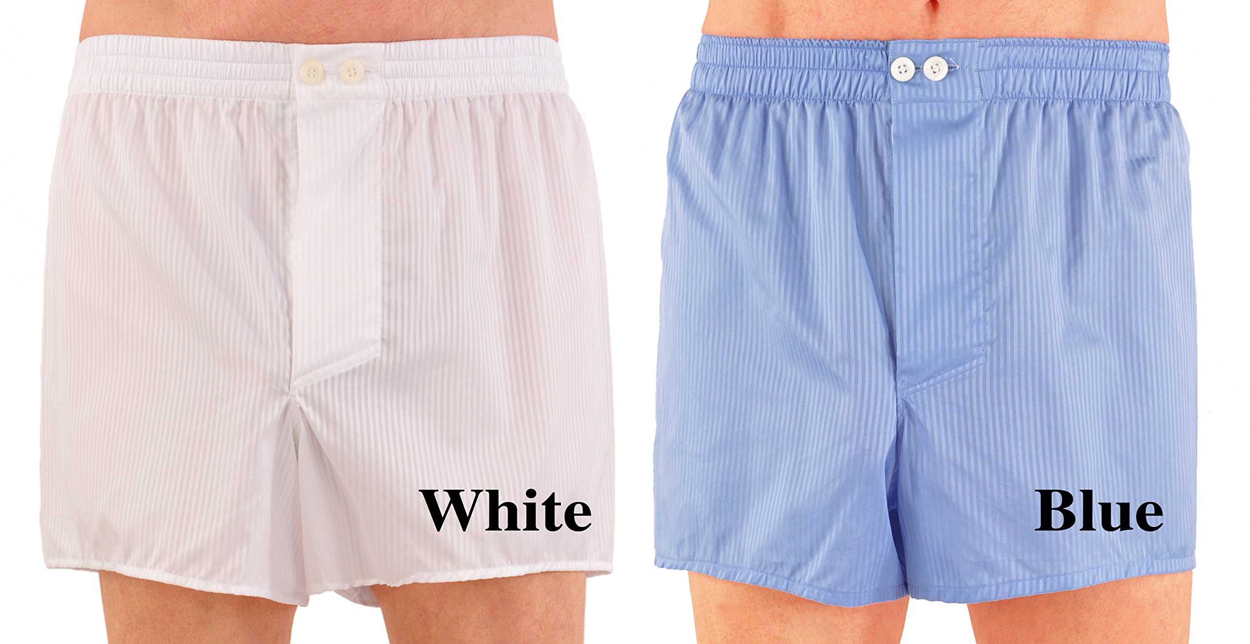World's Finest Woven Boxer Shorts - 3 Pairs Medium/Blue by Kabbaz-Kelly (Image #2)