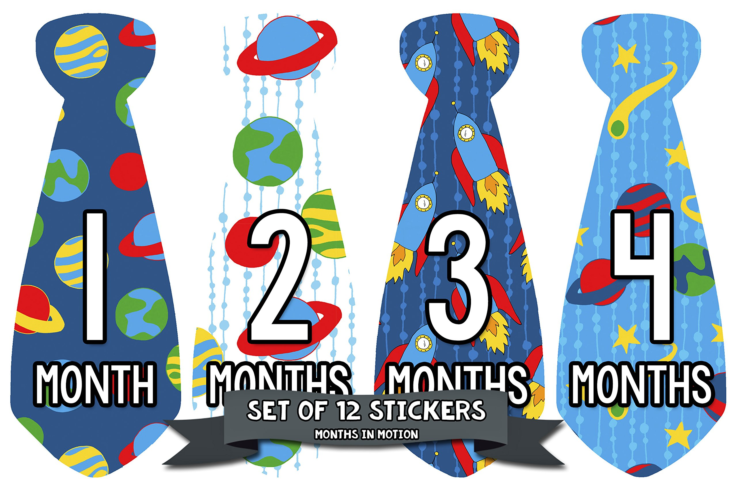Monthly Baby Boy Tie Stickers by Months In Motion | Baby Month Onesie Sticker Outspace (Style 771)